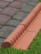 Victorian Terracotta Lawn Edging Tiles - Pack of 10 (H6cm x L2.3m)