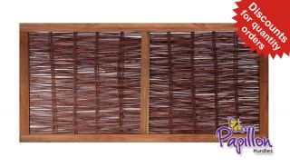 Heavy Framed Willow Hurdles Fencing Panels 1.82m x 0.9m (6ft x 3ft) - By Papillon™
