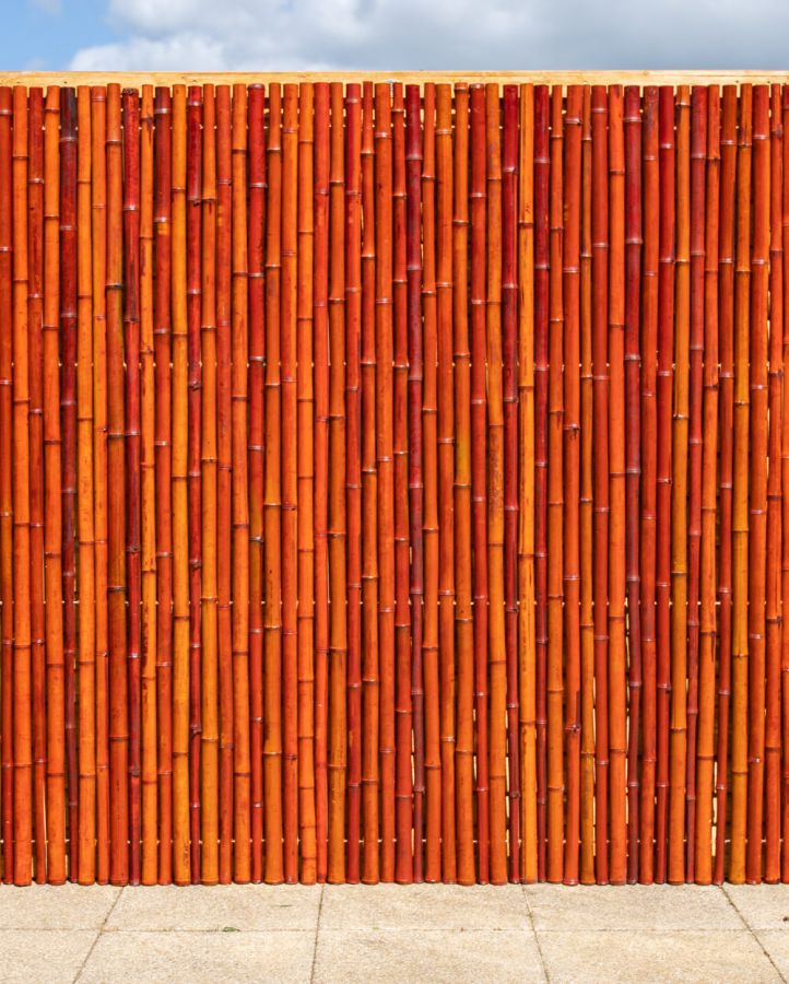 Thick Red Bamboo Fencing Screening Roll 1.9m x 1.8m (6ft 2in x 6ft) - By Papillon™