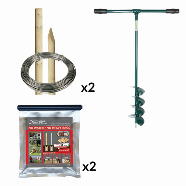 5ft6 Round Post Screening or Hurdle Quikset Installation Kit - First Panel