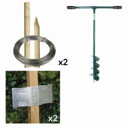 8ft Round Post Screening or Hurdle Advanced Installation Kit - First Panel