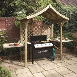 H2.4m (7ft 11in) Wooden Arbour with BBQ Space FSC® by Rowlinson®
