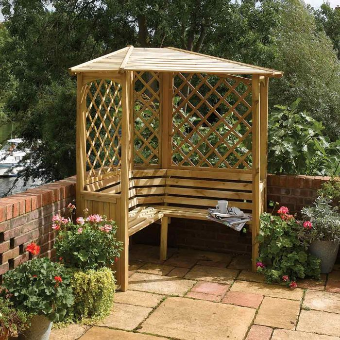 H2.1m (6ft 11in) Wooden Balmoral Corner Arbour FSC® by Rowlinson®