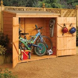 W1.82m (5ft 11in) Wooden Lockable Wallstore Bike Shed FSC® by Rowlinson®