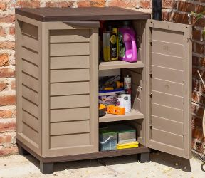 H90cm Plastic Utility Store Cabinet in Mocha by Rowlinson®