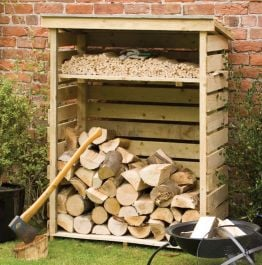 H1.56m (5ft) Small Wooden Garden Log Store FSC® by Rowlinson®