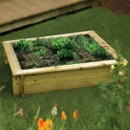 W1.2m (3ft 11in) Square Raised Wooden Planter & Sandpit FSC® by Rowlinson®