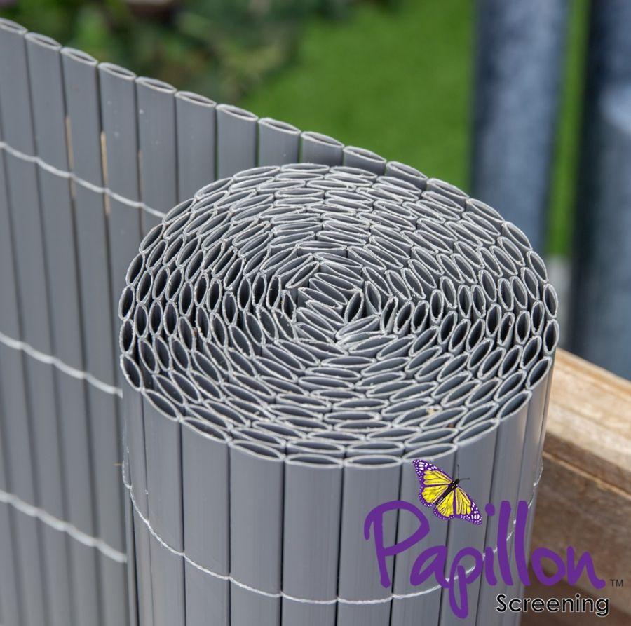 Grey Bamboo Cane Artificial Fencing Screening 4.0m x 1.0m (13ft 1in x 3ft 3in) - By Papillon™