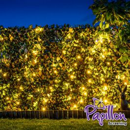 Extendable Artificial Laurel Leaf Fencing Screening Trellis with LEDs 2.0m x 1.0m (6ft 7in x 3ft 3in) - By Papillon™