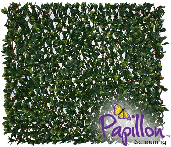 Extendable Artificial Laurel Leaf Fencing Screening Trellis 2.0m x 1.0m (6ft 7in x 3ft 3in) - By Papillon™