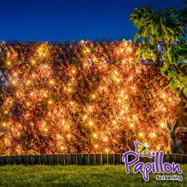 Extendable Artificial Red Acer Fencing Screening Trellis with LEDs 2.0m x 1.0m (6ft 7in x 3ft 3in) - By Papillon™