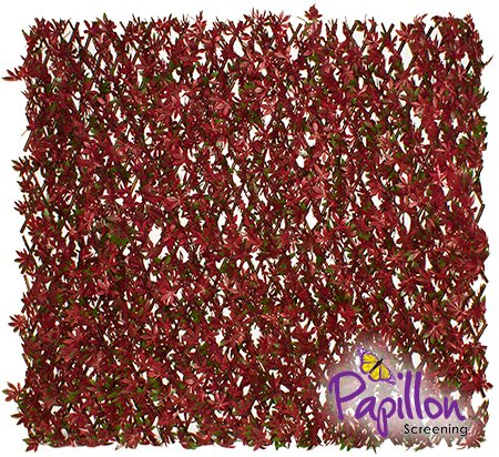 Extendable Artificial Red Acer Fencing Screening Trellis 2.0m x 1.0m (6ft 7in x 3ft 3in) - By Papillon™