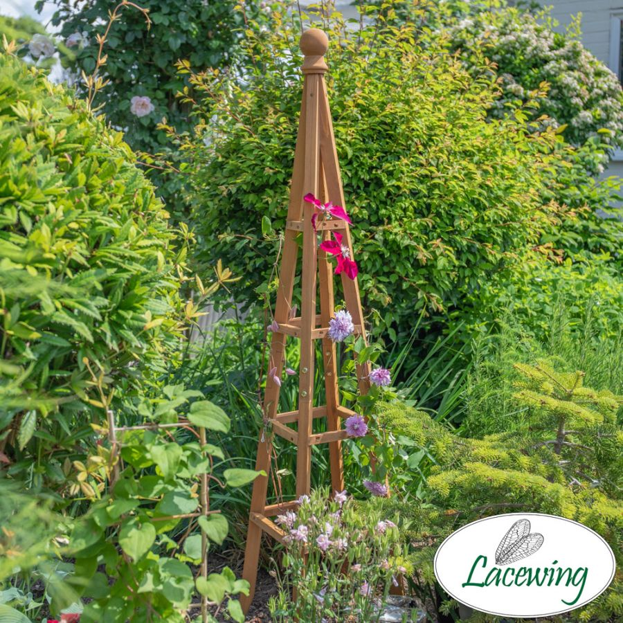150cm Tan Wooden Obelisk Plant Support by Lacewing™