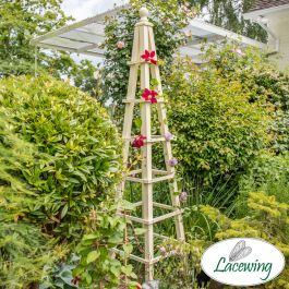 195cm Premium Cream Wooden Obelisk Plant Support by Lacewing™