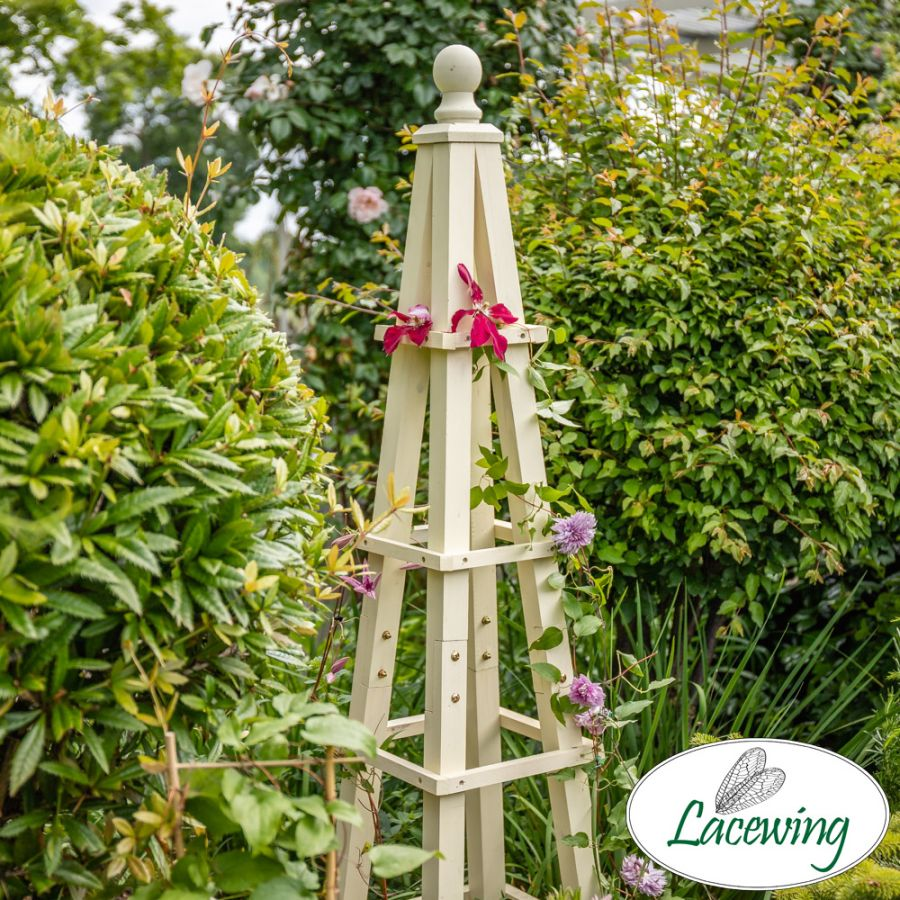 155cm Premium Cream Wooden Obelisk Plant Support by Lacewing™