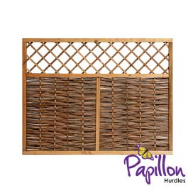 Framed Willow Hurdles With Lattice Trellis Top Fencing Panels (6ft x 4ft 7in) - By Papillon™