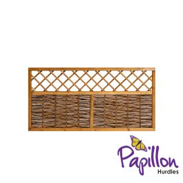Framed Willow Hurdles With Lattice Trellis Top Fencing Panels (6ft x 3ft) - By Papillon™