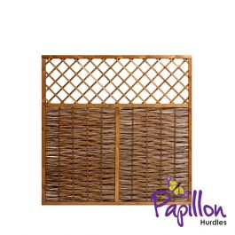 Framed Willow Hurdles With Lattice Trellis Top Fencing Panels (6ft x 6ft) - By Papillon™