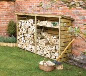 Large Wooden Log store W229cm x H156cm