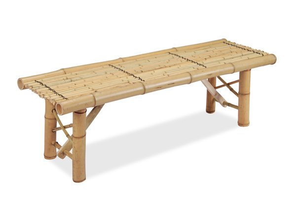 White 1.2m (4ft) Bamboo Bench