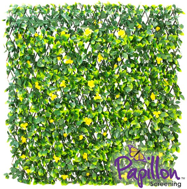 1 x 2m Extendable Artificial Yellow Flower Screening Trellis (3ft 3in x 6ft 7in) - by Papillon™