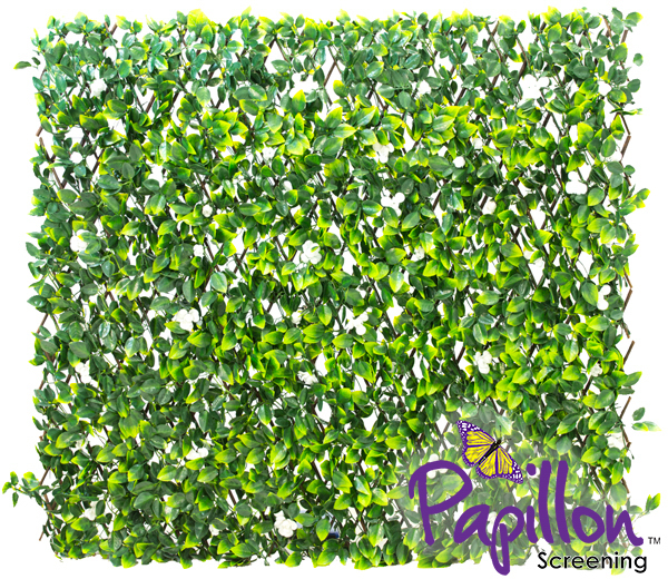 1 x 2m Extendable Artificial White Flower Screening Trellis (3ft 3in x 6ft 7in) - by Papillon™