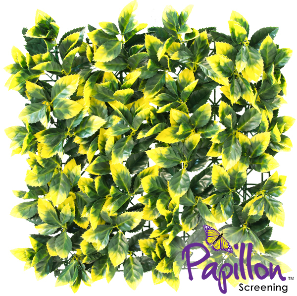 50x50cm Yellow Leaf Artificial Hedge Panel - by Papillon™ - 16 Pack - 4m²
