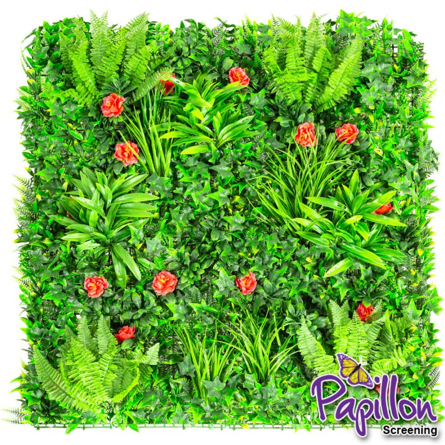 1x1m Artificial Mixed Plants Red Rose Green Wall Hedge Panel (3ft 3in x 3ft 3in) - by Papillon™