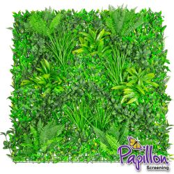 1x1m Artificial Mixed Plants Green Wall Hedge Panel (3ft 3in x 3ft 3in) - by Papillon™ - 8 Pack