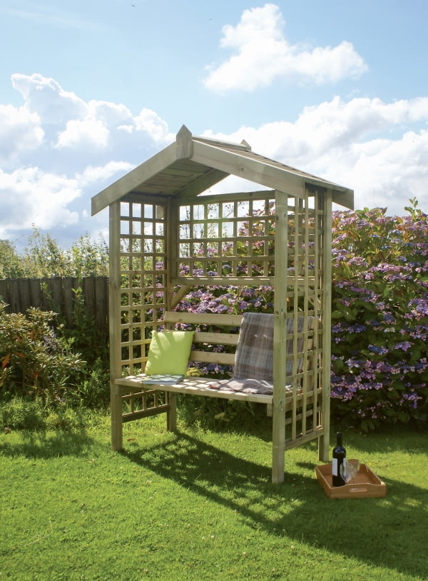 Suffolk Wooden Arbour with Trellis H2m