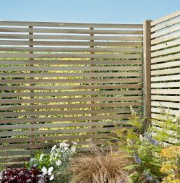 Set of 3 | 6ft x 4ft Slatted Wooden Fence Panel | Pressure Treated