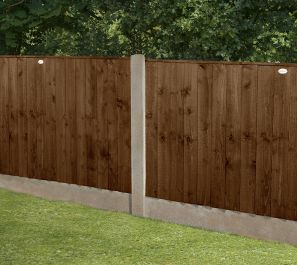 Set of 3 | 6ft x 3ft Featheredge Wooden Fence Panel in Dark Brown | Pressure Treated