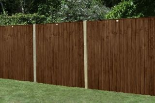 Set of 3 | 6ft x 5ft Featheredge Wooden Fence Panel in Dark Brown | Pressure Treated