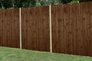 Set of 3 | 6ft x 6ft Featheredge Wooden Fence Panel in Dark Brown | Pressure Treated