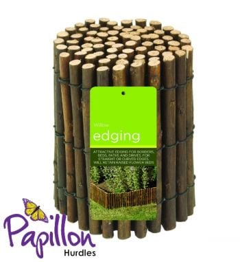 1m Natural Willow Lawn Edging Roll by - H15cm - Papillon™