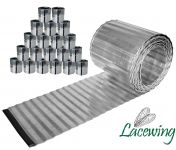 Pack of 20x 5m Galvanised Lawn Edging Rolls - Corrugated - H16.5cm
