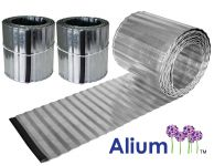 Pack of 2x 6m Deep Corrugated Galvanised Lawn Edging Rolls - H16.5cm