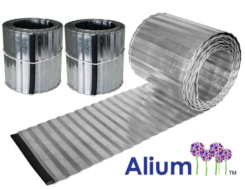 Pack of 2x 5m Galvanised Lawn Edging Rolls - Corrugated - H16.5cm