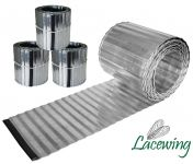 Pack of 3x 5m Galvanised Lawn Edging Rolls - Corrugated - H16.5cm