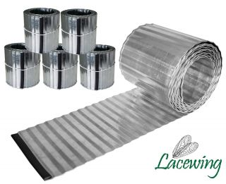 Pack of 5x 5m Galvanised Lawn Edging Rolls - Corrugated - H16.5cm