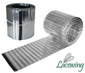 5m Galvanised Lawn Edging Roll - Corrugated - H16.5cm