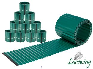 Pack of 10x 5m Galvanised Lawn Edging Rolls - Green - H16.5cm