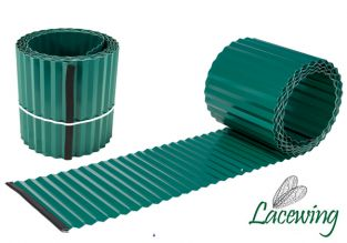 5m Galvanised Lawn Edging Roll - Green - H16.5cm