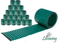 Pack of 20x 5m Galvanised Lawn Edging Rolls - Green - H16.5cm