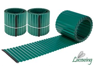 Pack of 2x 5m Galvanised Lawn Edging Rolls - Green - H16.5cm
