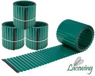Pack of 3x 5m Galvanised Lawn Edging Rolls - Green - H16.5cm
