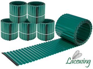 Pack of 5x 5m Galvanised Lawn Edging Rolls - Green - H16.5cm