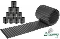 Pack of 10x 5m Galvanised Lawn Edging Rolls - Black - H16.5cm