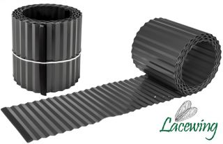 5m Galvanised Lawn Edging Roll - Black - H16.5cm