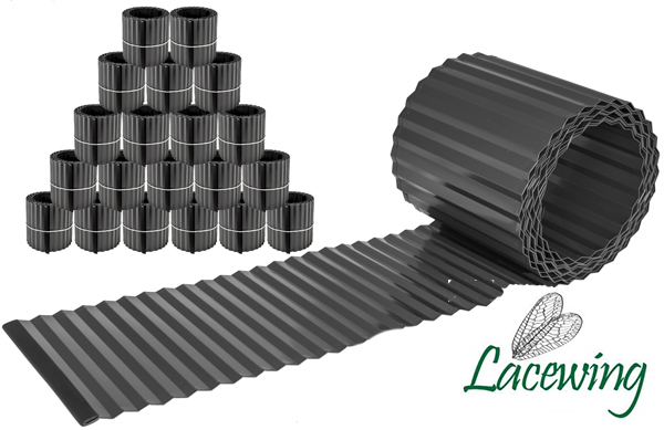 Pack of 20x 5m Galvanised Lawn Edging Roll - Black - H16.5cm